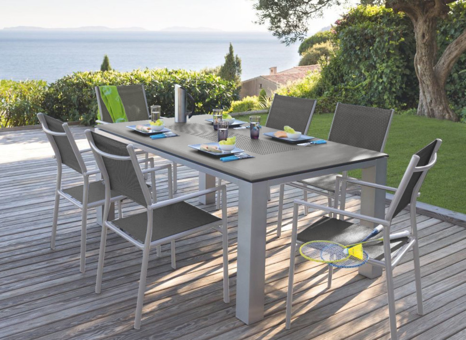 Table jardin Florence + 6 fauteuils gris/taupe - Promo - Proloisirs