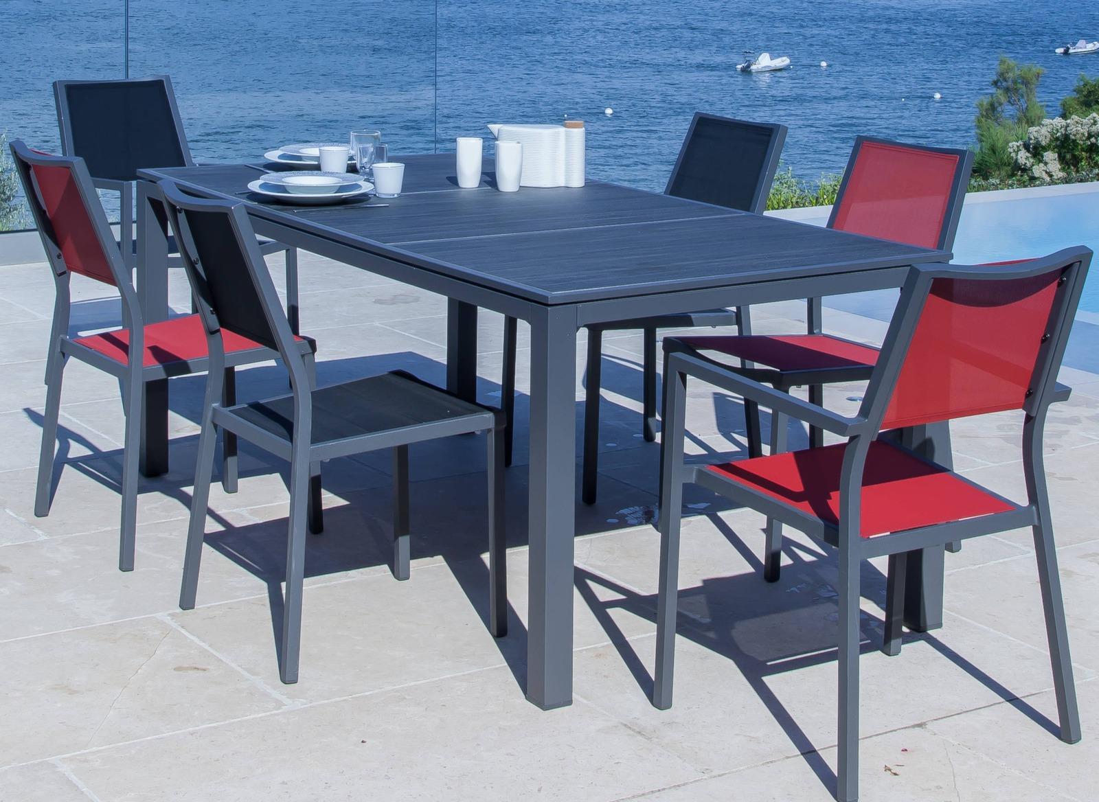 salon de jardin bois table 6 chaises accoudoirs proloisirs. Black Bedroom Furniture Sets. Home Design Ideas