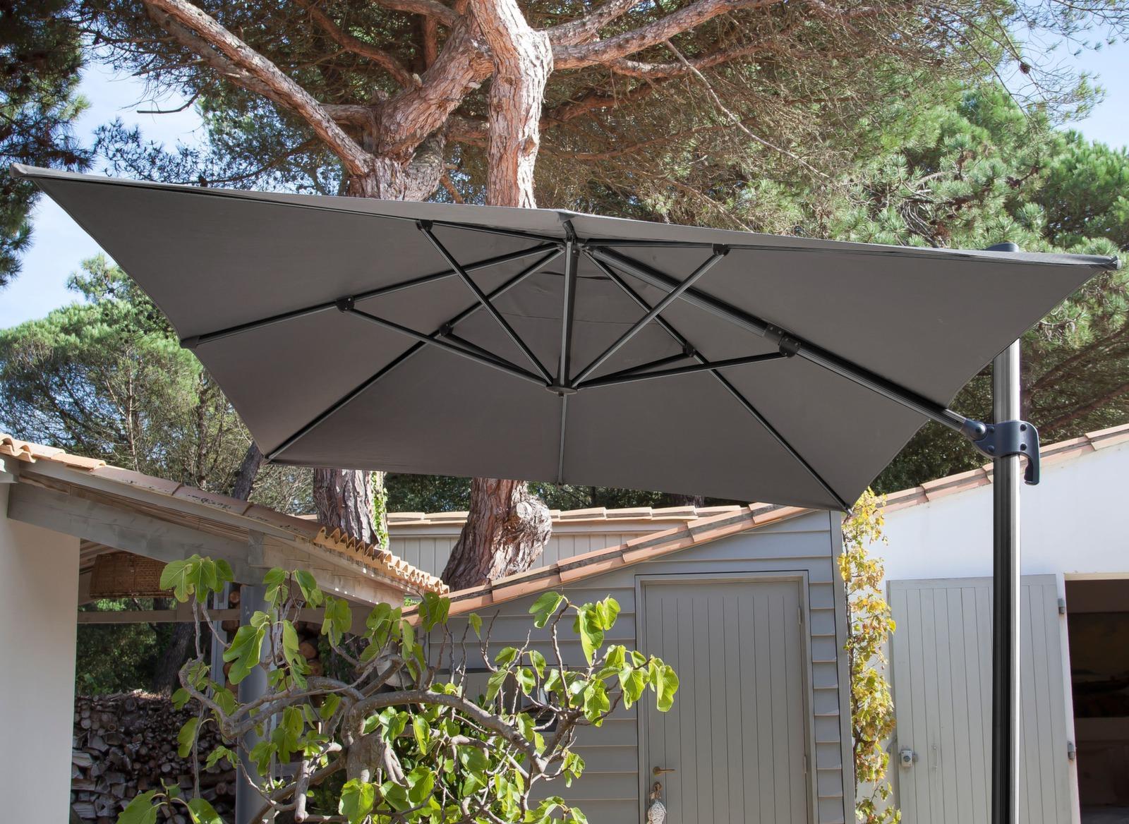 Toile grise pour parasol d port rectangle 3x4m proloisirs for Toile pour parasol deporte