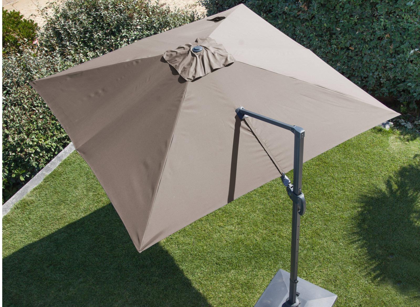 Parasol d port orientable aluminium 3x3m meuble jardin - Parasol deporte orientable et inclinable ...