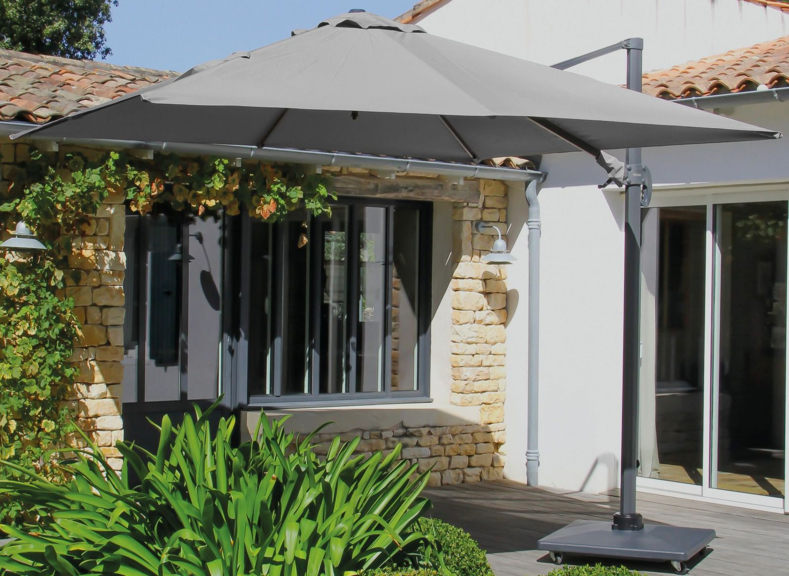 parasol d port carr aluminium 3x3m mobilier de jardin proloisirs. Black Bedroom Furniture Sets. Home Design Ideas