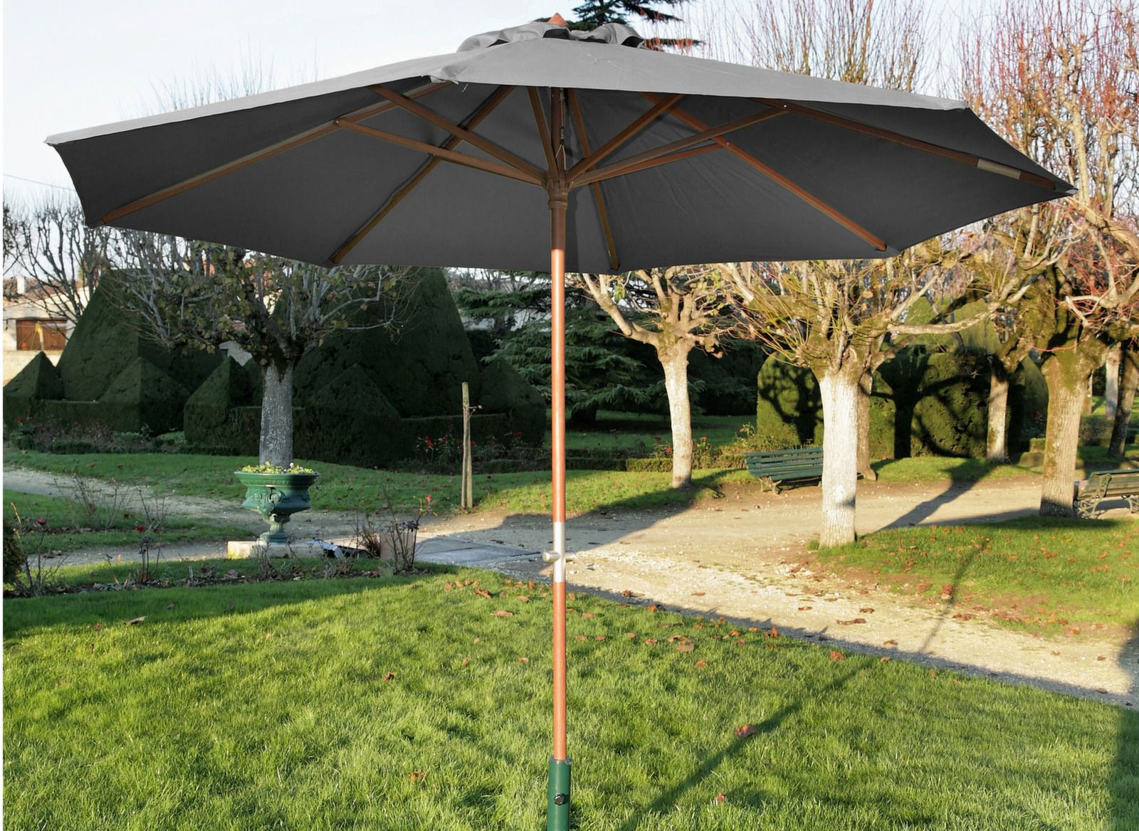 parasol en bois avec manivelle 3m mobilier de jardin. Black Bedroom Furniture Sets. Home Design Ideas