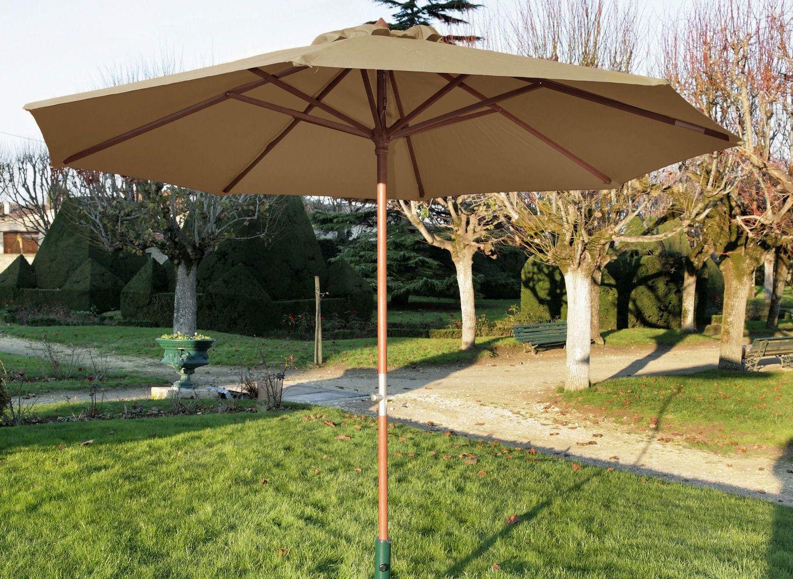 Parasol droit bois Manivelle Ø 300 cm
