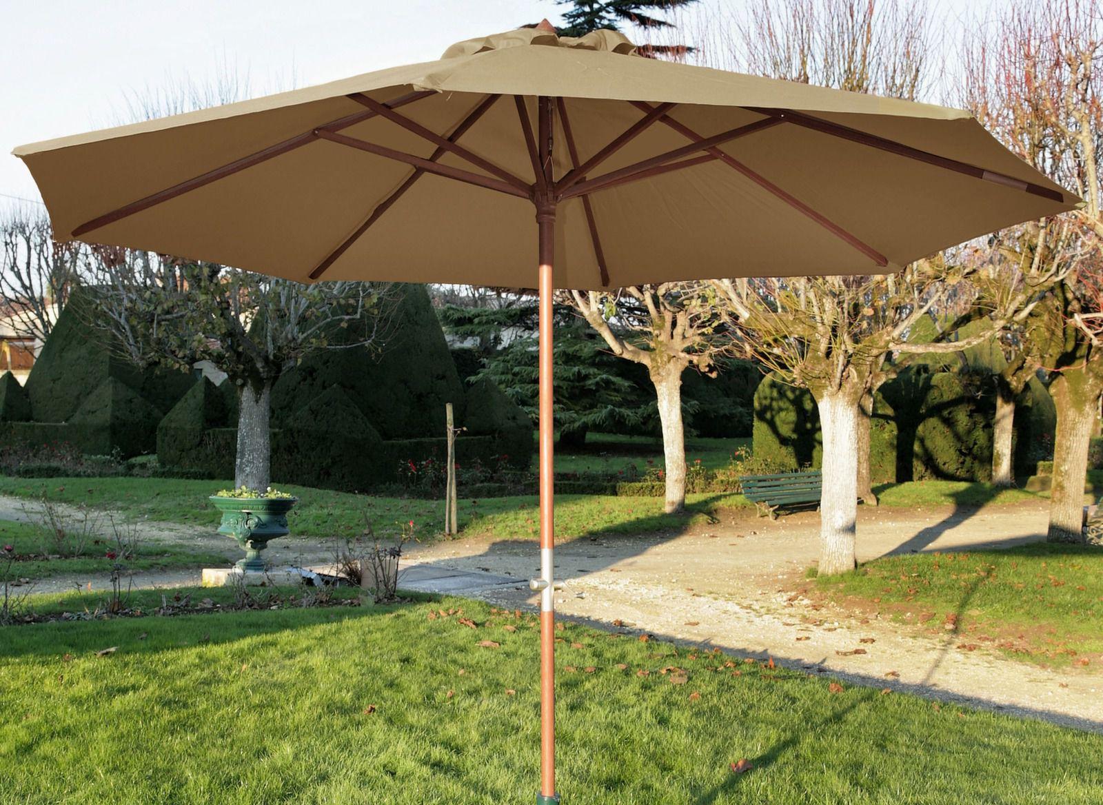 Parasol en bois avec manivelle 3,5m - Mobilier de jardin ...