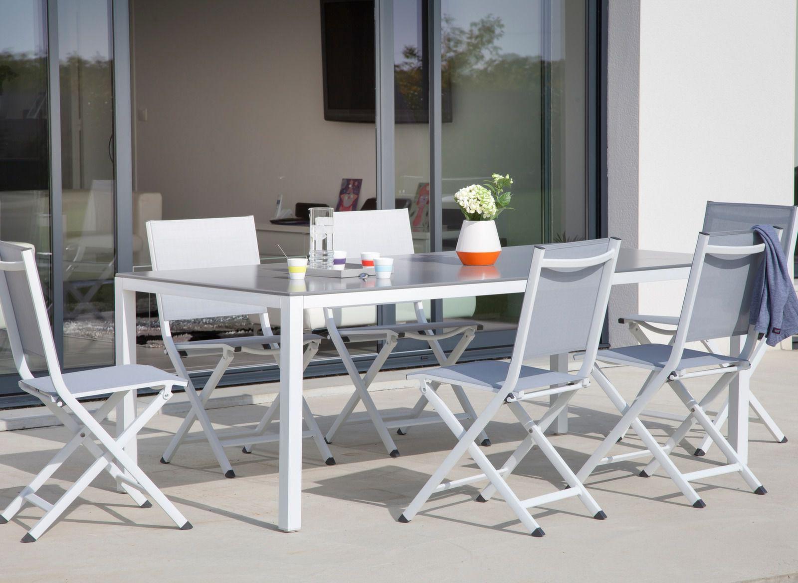 Table de jardin Création 200x100cm + 6 chaises - Promo - Proloisirs