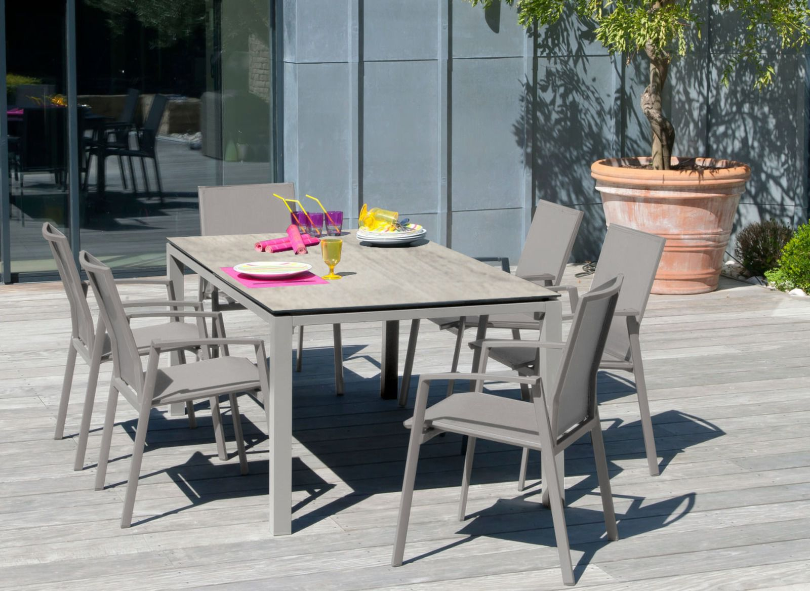 table de jardin ston o 6 si ges palma promotions proloisirs. Black Bedroom Furniture Sets. Home Design Ideas