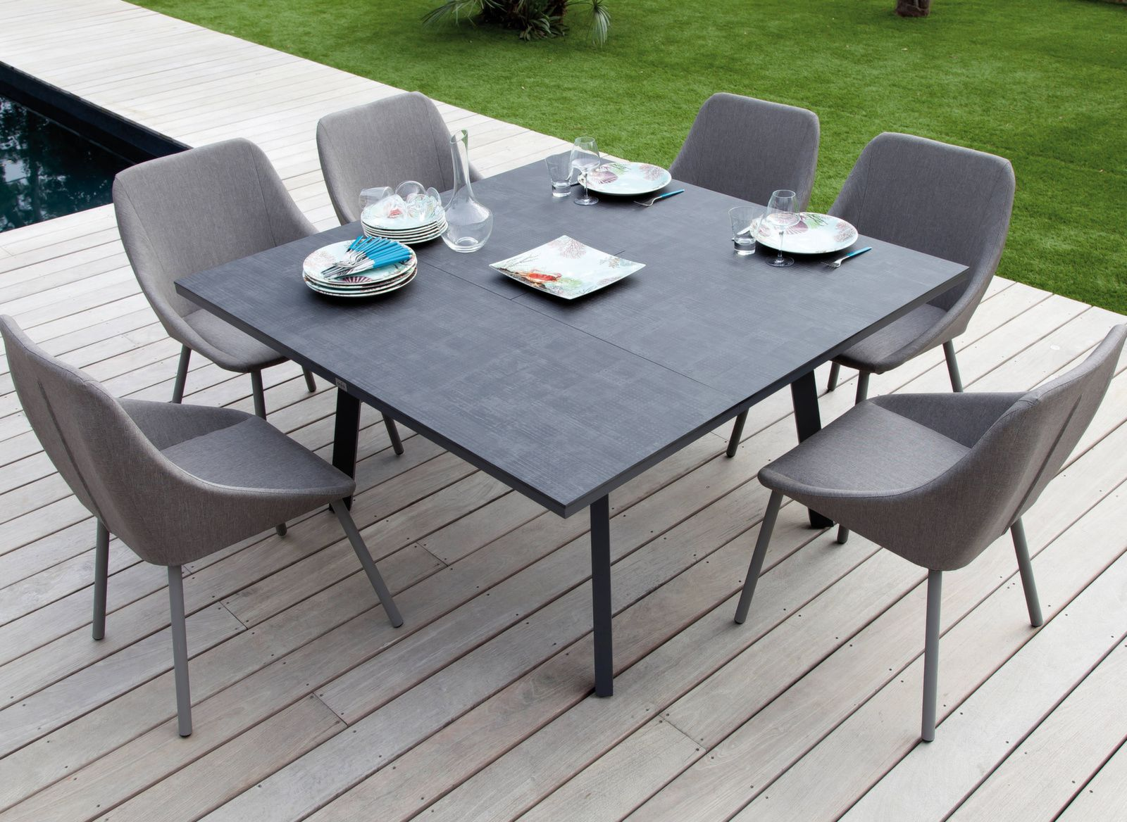 Table Barsa 100/140 x 140 cm, plateau Trespa®