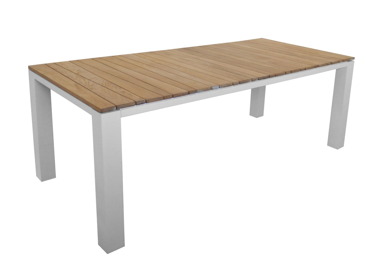 Table Zébra 220 cm, plateau teck
