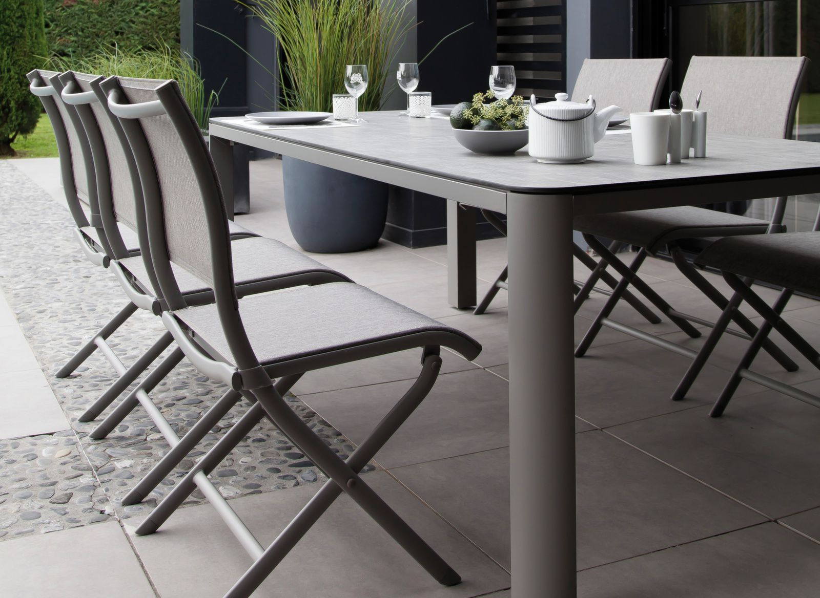table de jardin eole 180cm plateau trespa gamme oc o proloisirs. Black Bedroom Furniture Sets. Home Design Ideas