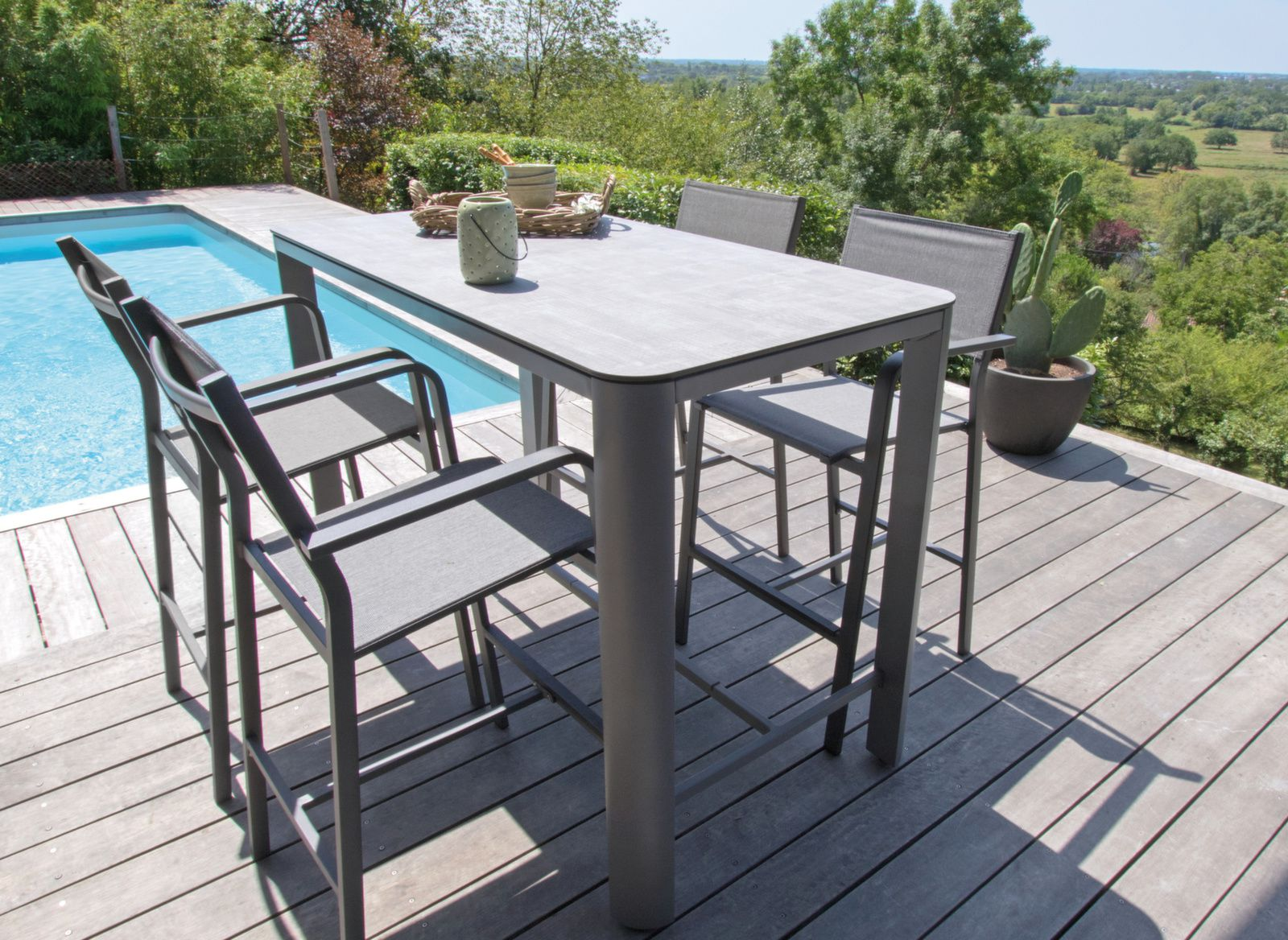 077bee57a2336a Table Eole Haute 150x75, Plateau Trespa® - Tables hautes de jardin