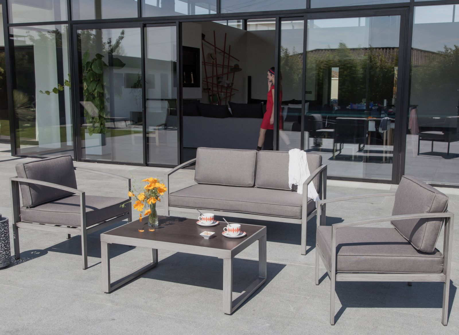 Salon de jardin Trieste - Mobilier extérieur détente - Proloisirs
