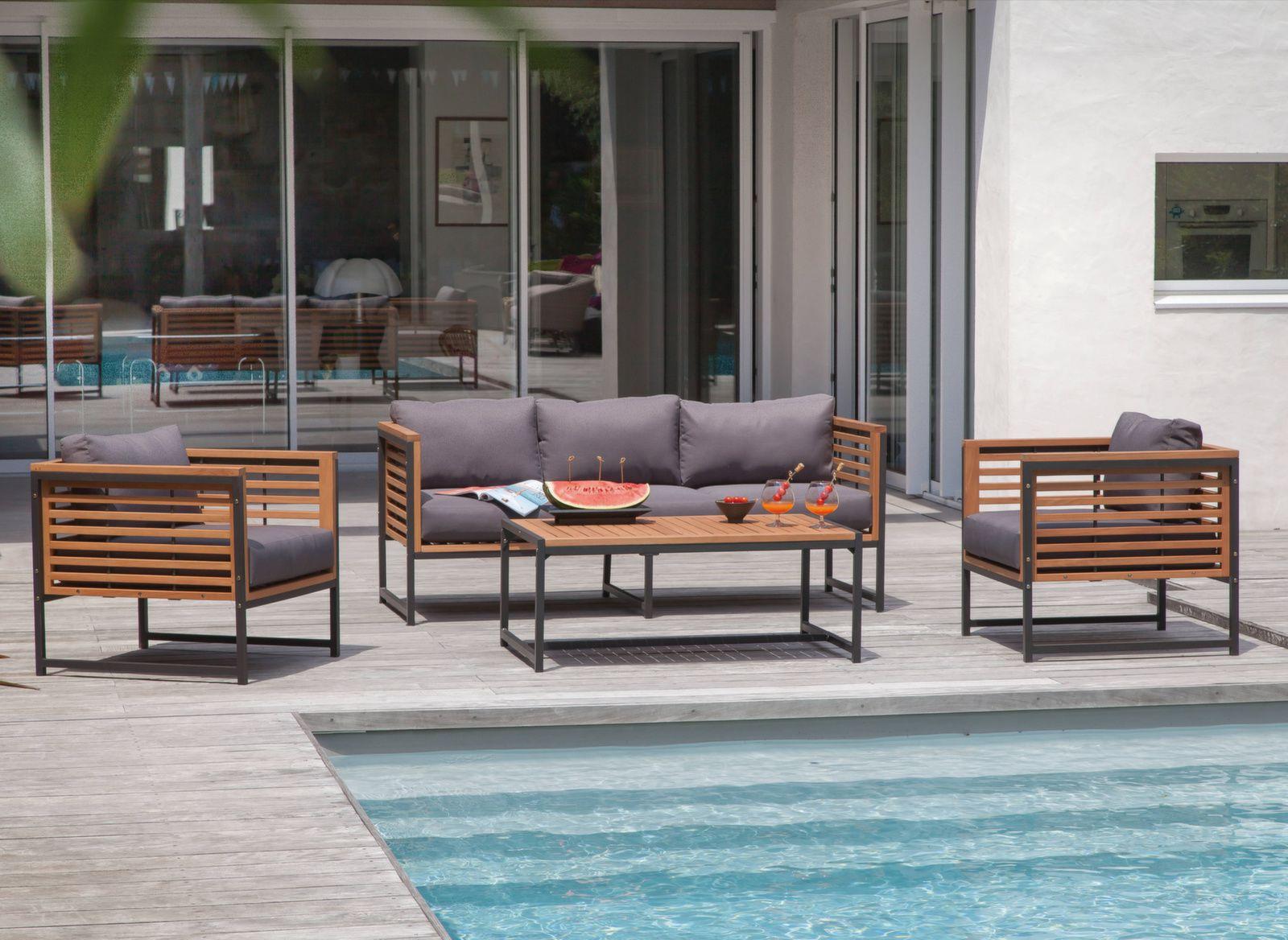 Salon de jardin bas Végas - Mobilier extérieur détente - Proloisirs