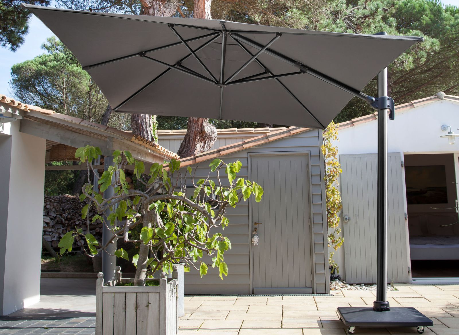 Parasol Deporte Rectangle 3x4m Inclinable Avec Mat Gris Proloisirs