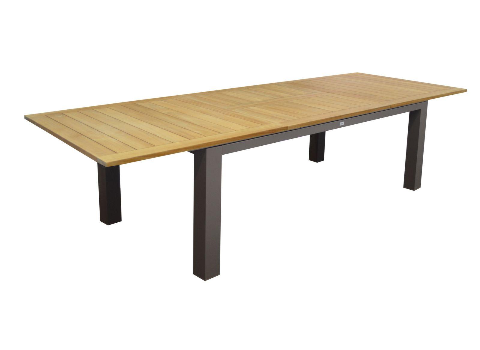 Table Flo 220/300 cm, plateau Teck