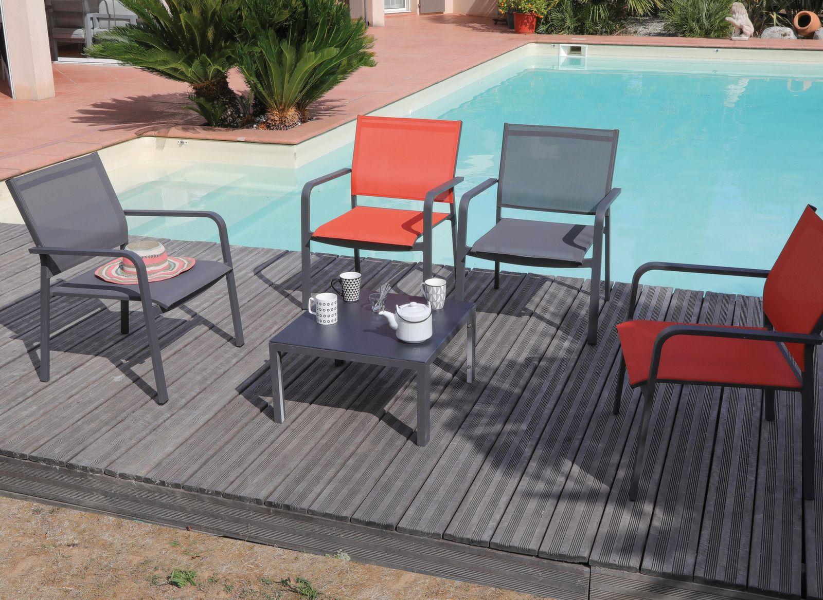 Ensemble détente Cortes Bank (4 fauteuils + table basse)
