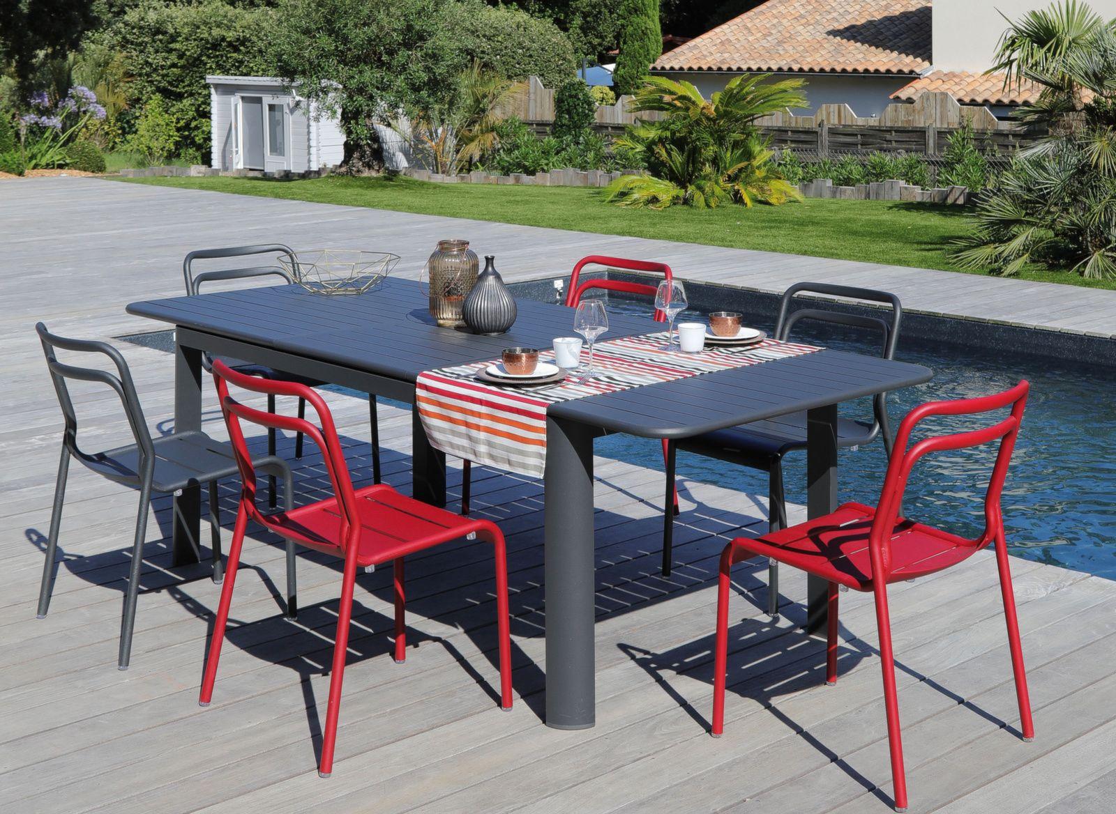 Table Eos 160 220 Cm 6 Chaises Salons De Jardin Pour Le Repas
