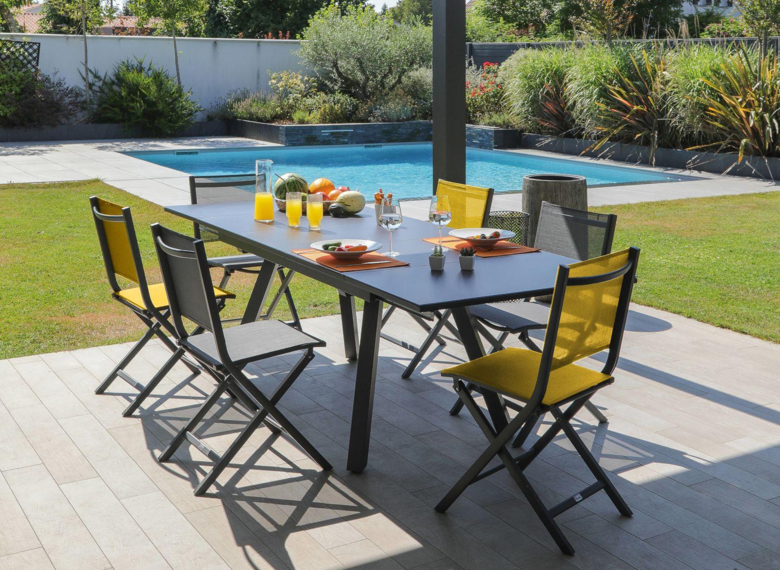 Table Agra 150/200/250 cm, plateau Verre
