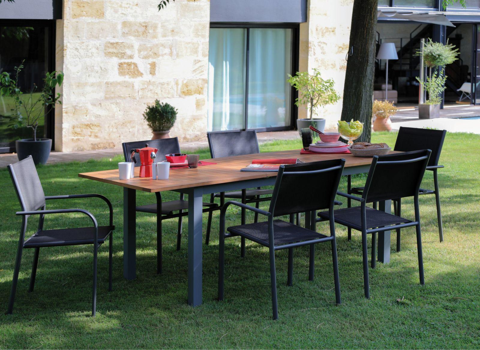 Table Evora 160 220 Cm Plateau Eucalyptus Table De Jardin Bois