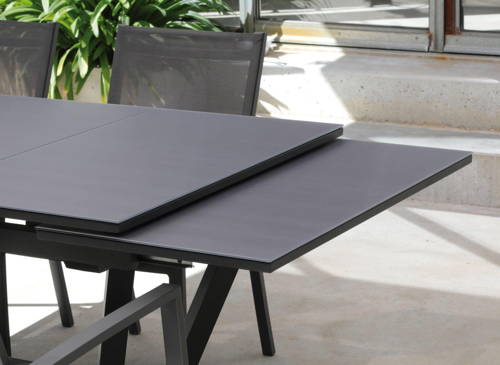 Table Vita 150/200/250 cm, plateau verre