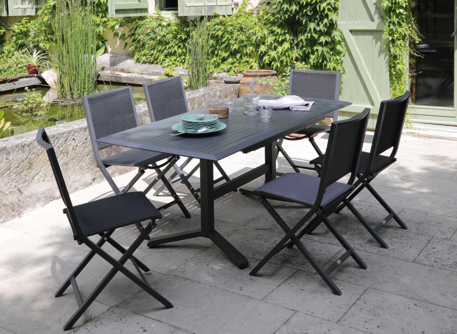 Table Sotta 130 180 Cm Table De Jardin Bois Aluminium Resine