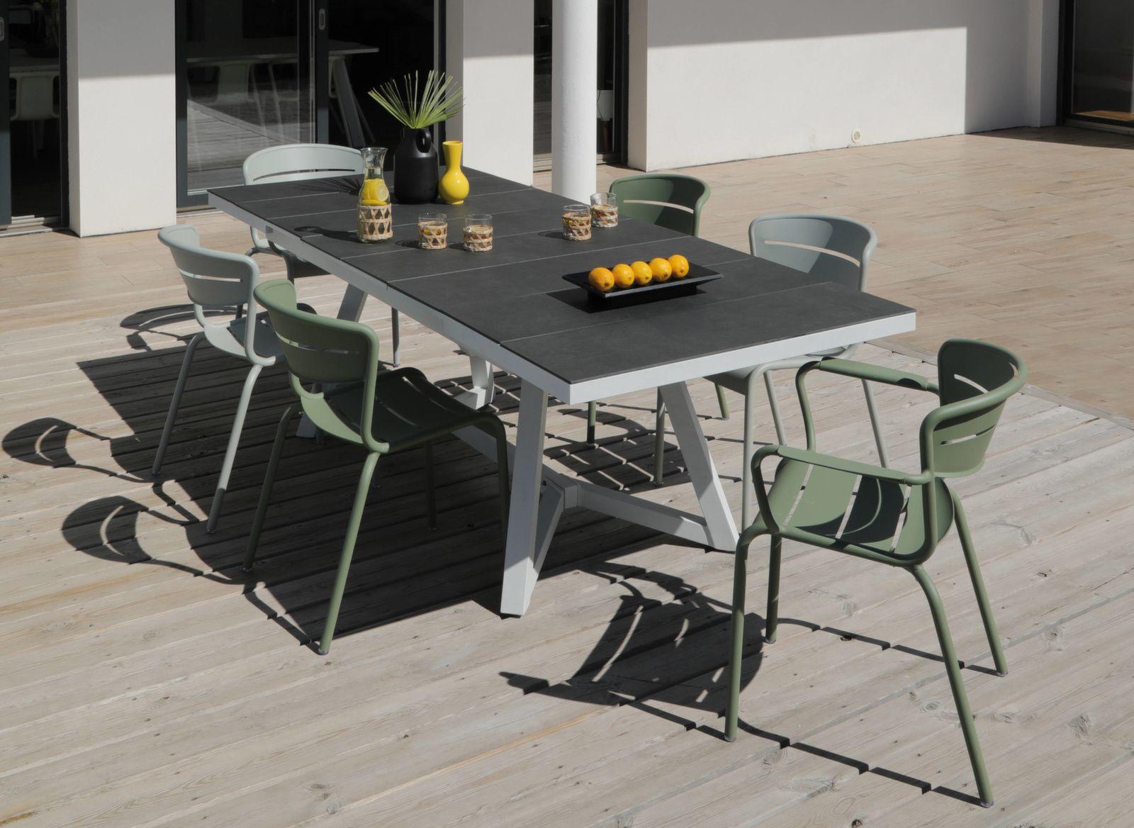 Table Agira 180/240 cm, plateau à lames Trespa®