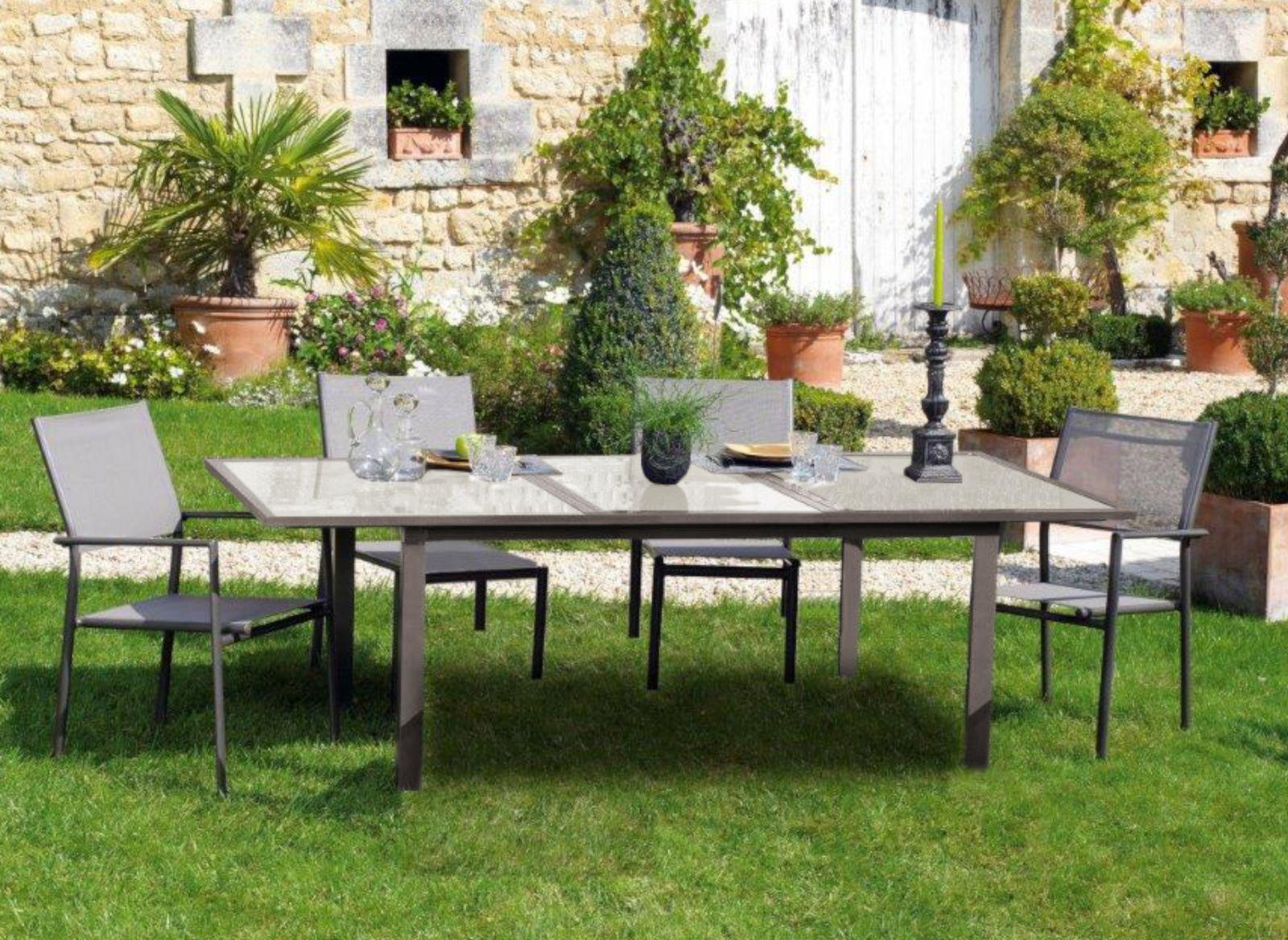 Table Almeria 160/210x100, plateau verre