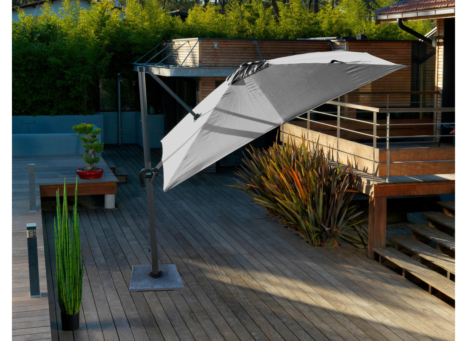 parasol d port gris 3x3m eco parasol d port pas cher proloisirs. Black Bedroom Furniture Sets. Home Design Ideas