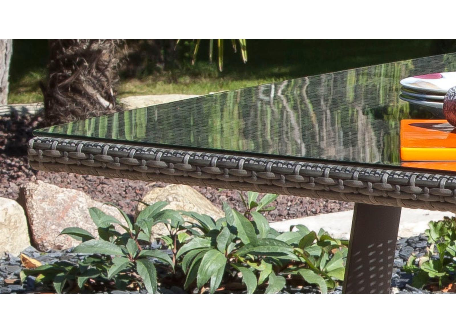 Table Soléo 180 x 100 cm, alu/résine tressée