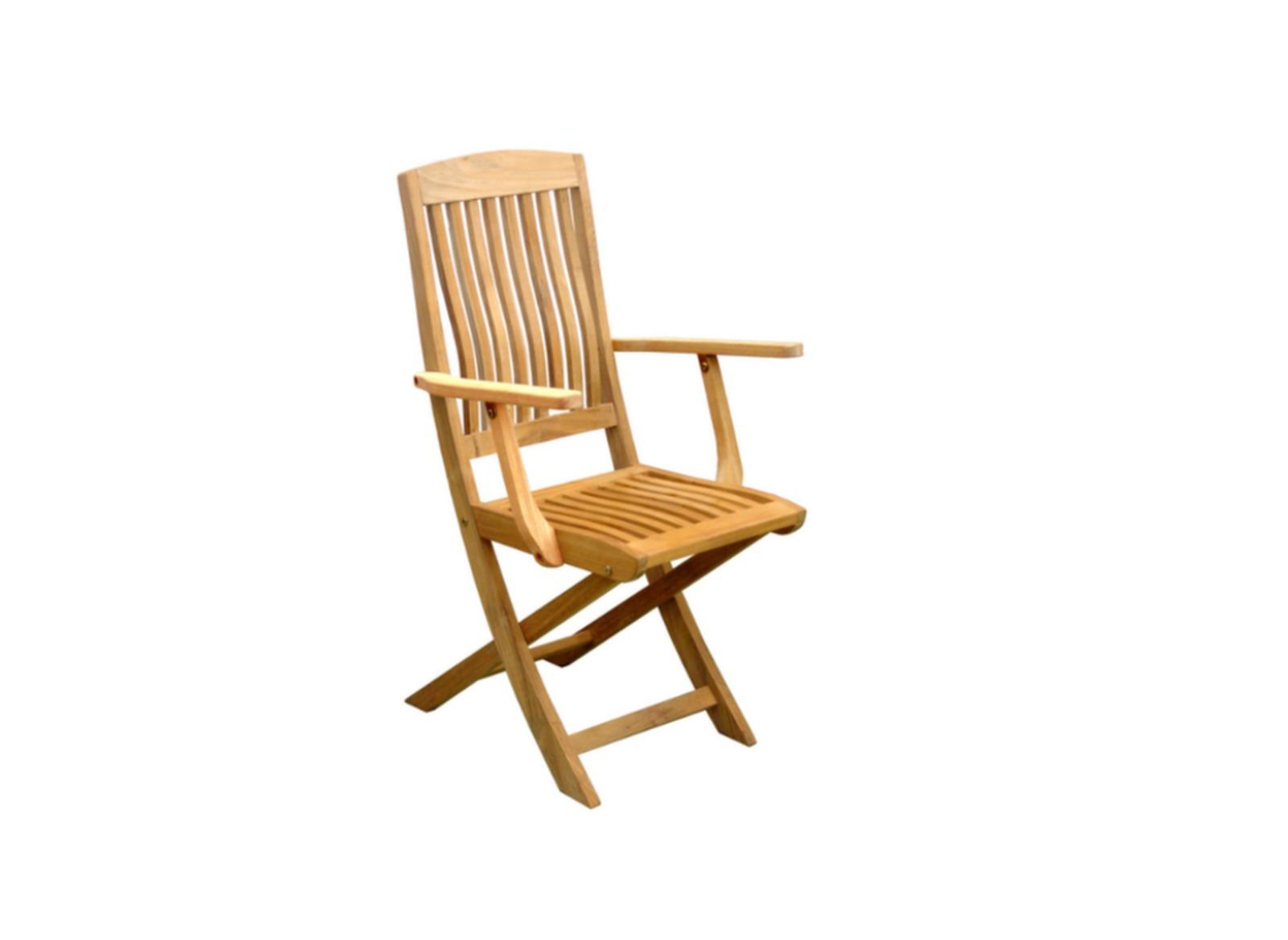 Chaise de jardin pliante en teck rias proloisirs - Chaise pliante teck ...