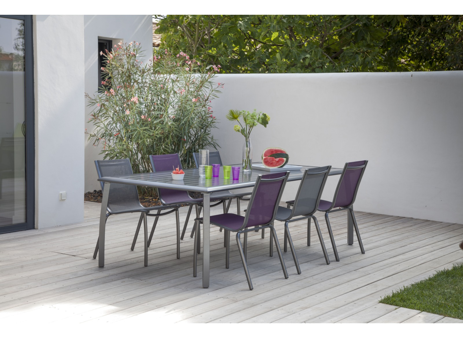 soldes table de jardin azuro 225x100cm fintion poxy proloisirs. Black Bedroom Furniture Sets. Home Design Ideas