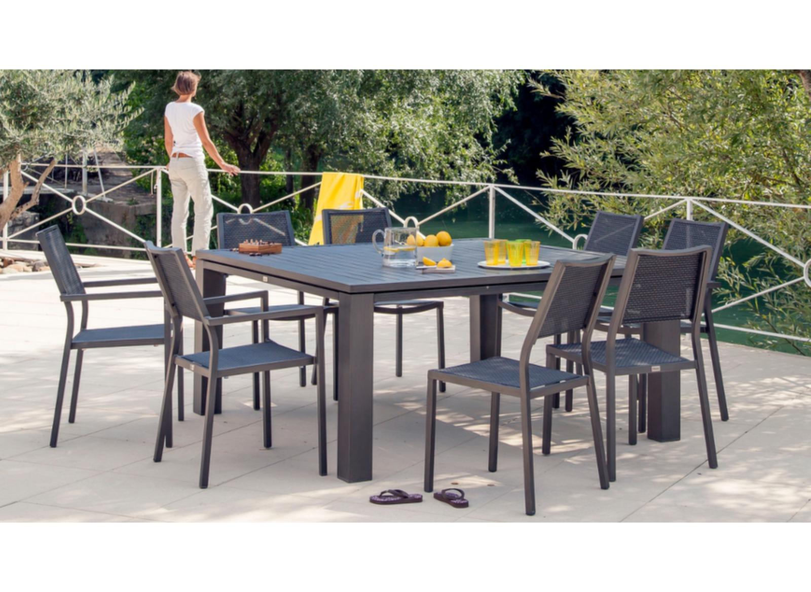 Soldes table de jardin carr e fiero 144 144cm proloisirs - Soldes parasols jardin ...