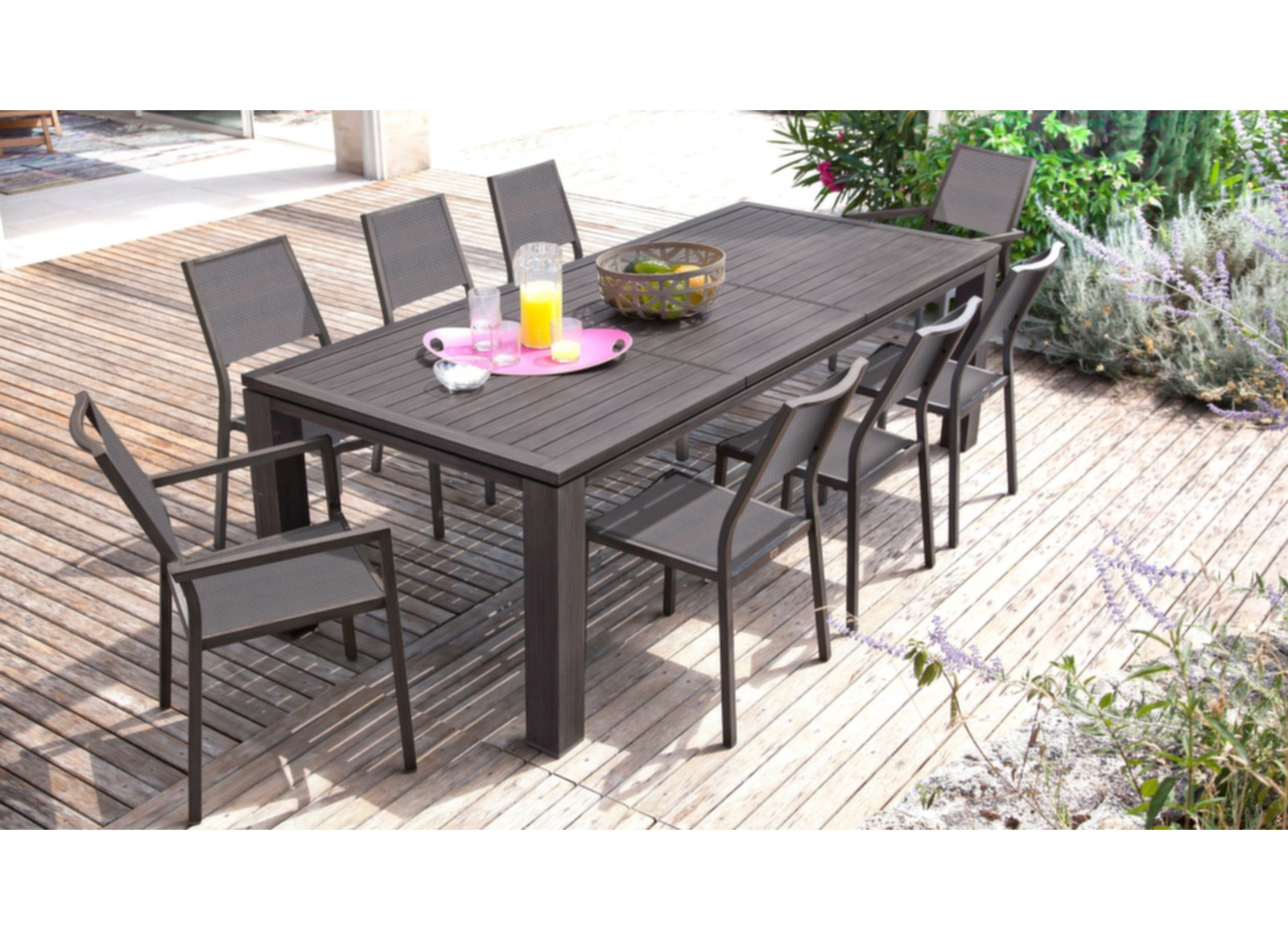 Grande table de jardin rectangle fiero proloisirs for Jardin loisir