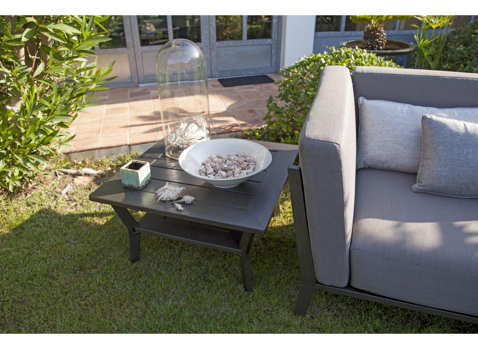 Table basse de jardin 2 niveaux alu gris 66cm sofa oc o for Jardin 2 niveaux