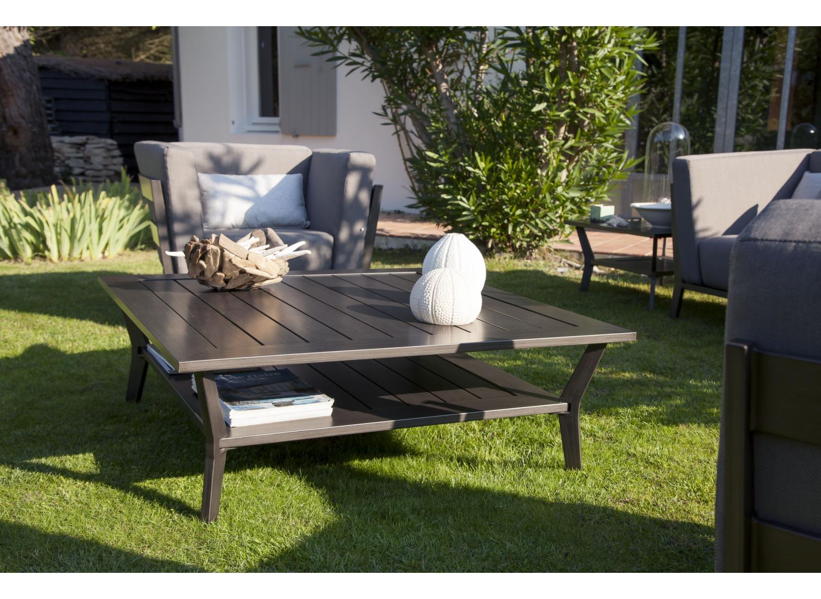 Table basse de jardin 2 niveaux aluminium 105cm sofa oc o for Jardin 2 niveaux
