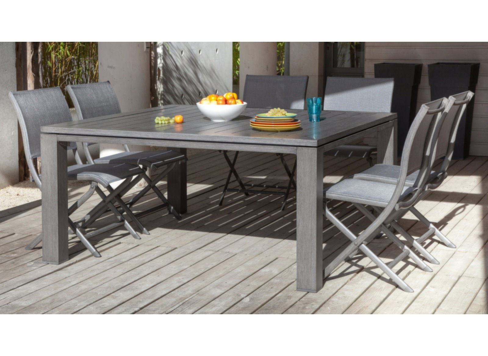 Table salon de jardin carr e 155cm latino oc o for Table carree et chaises