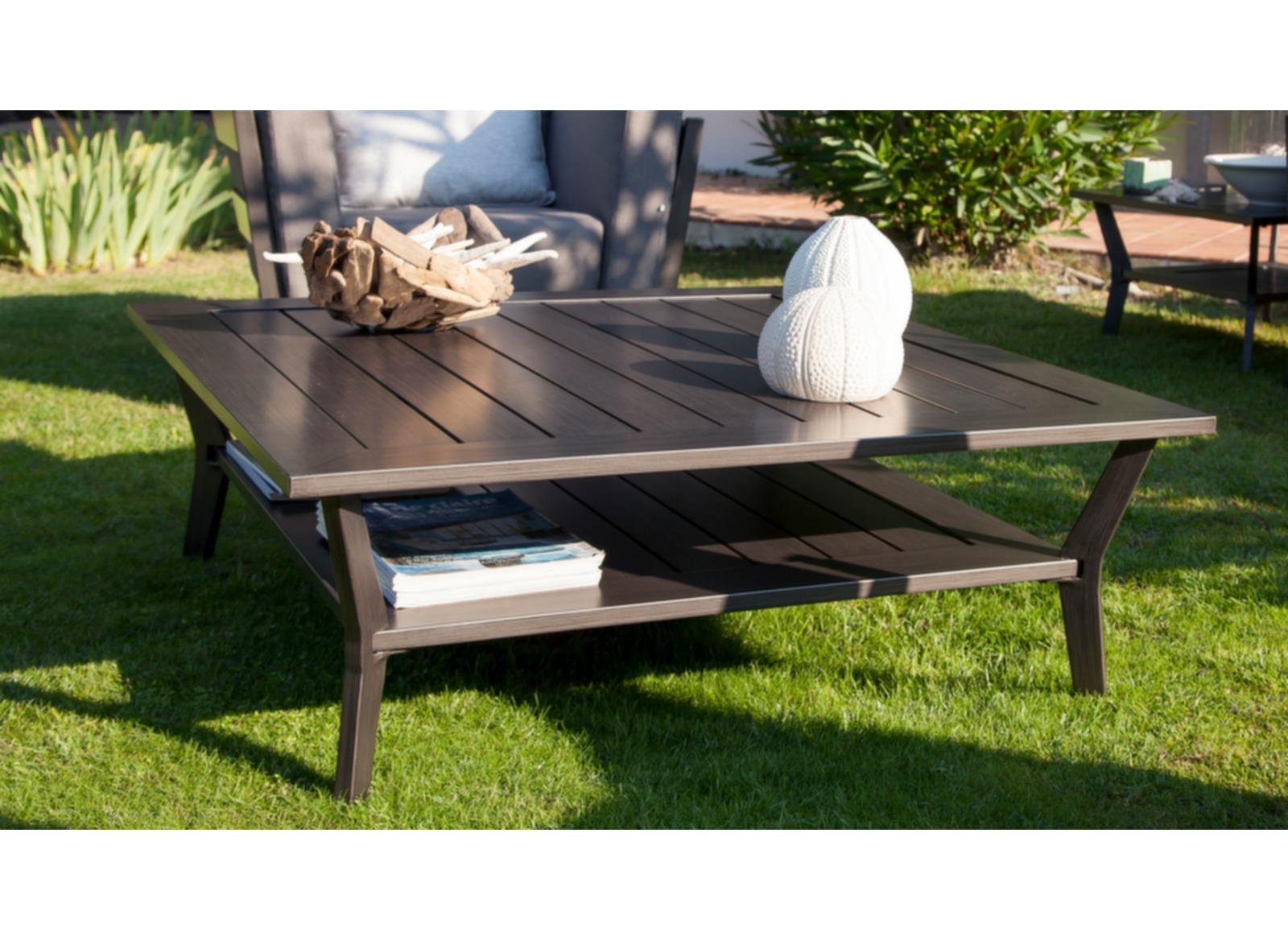 Table basse jardin 2 niveaux alu beige 105cm sofa oc o for Jardin 2 niveaux