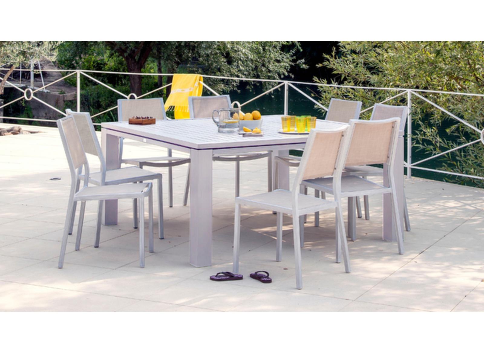 Salon de jardin repas 6 pers. 160cm Fiero + 4 chaises - Proloisirs