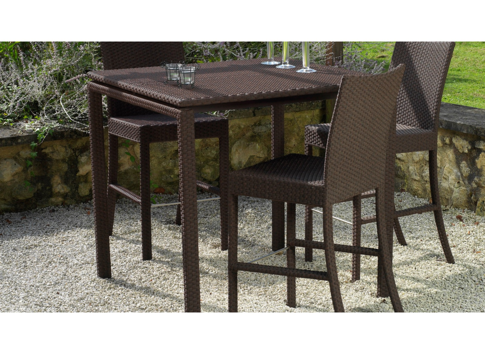 promotion table bar de jardin r sine tress e azur oc o. Black Bedroom Furniture Sets. Home Design Ideas