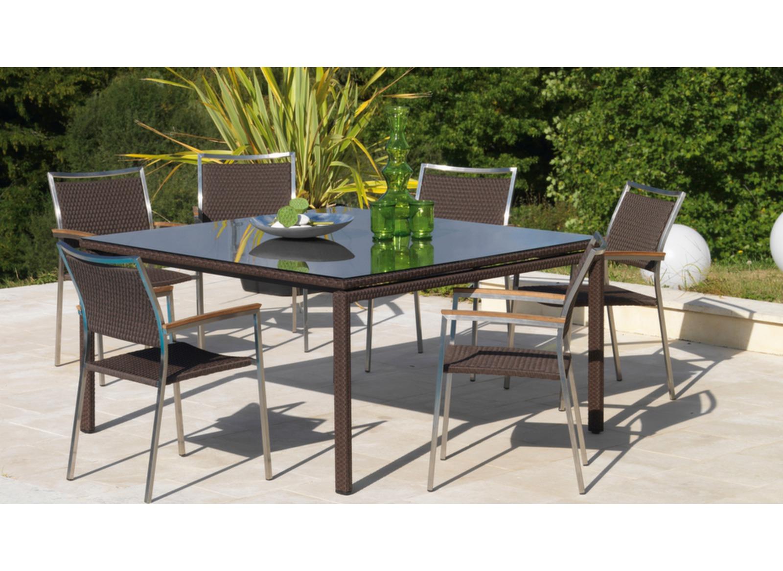 Table Azur 145 x 145 cm, plateau verre