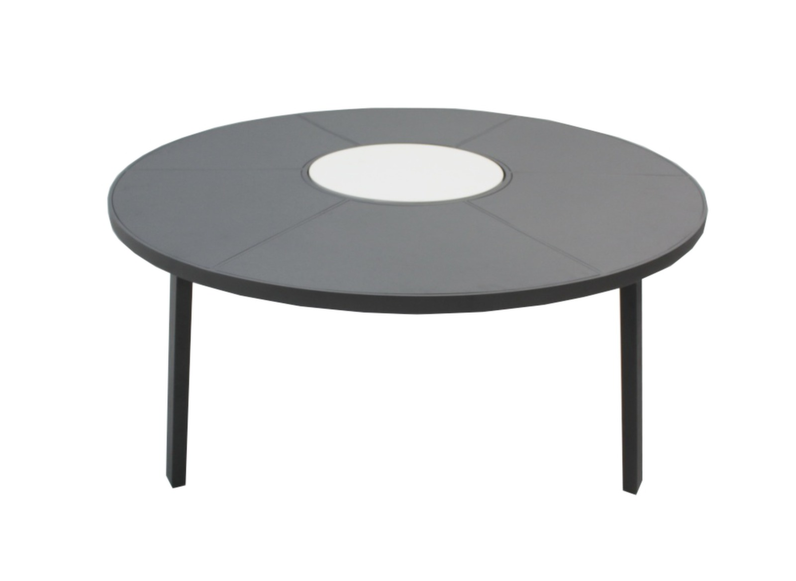 Awesome table de jardin ronde plateau tournant for Table ronde rotin plateau verre