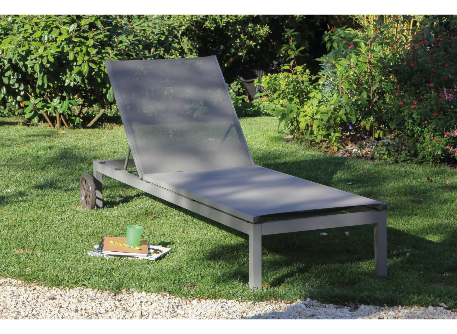 Bain de soleil alu et toile textil ne th ma proloisirs for Chaise longue textilene