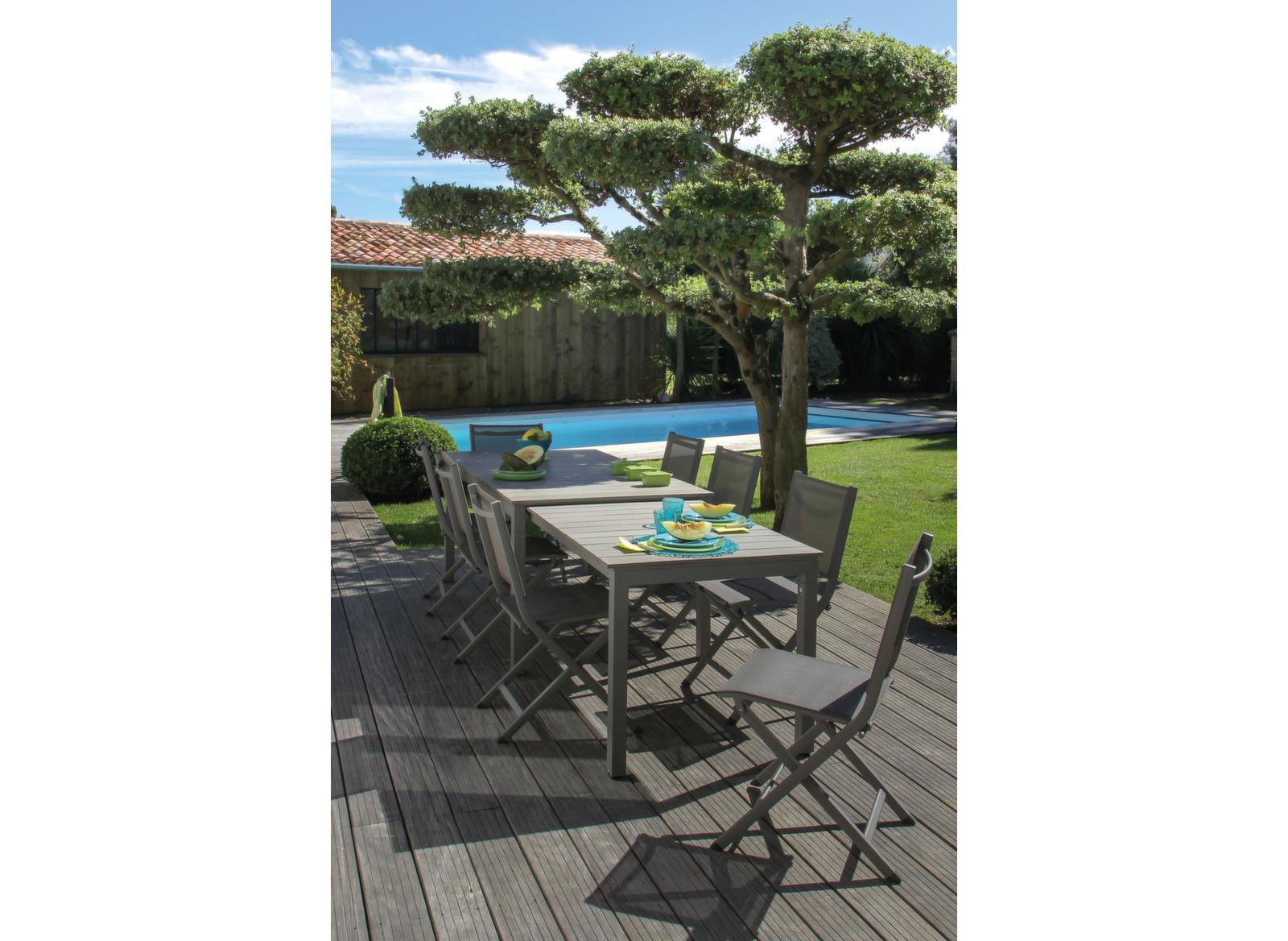 soldes table de jardin extensible sur roues 170 290cm. Black Bedroom Furniture Sets. Home Design Ideas