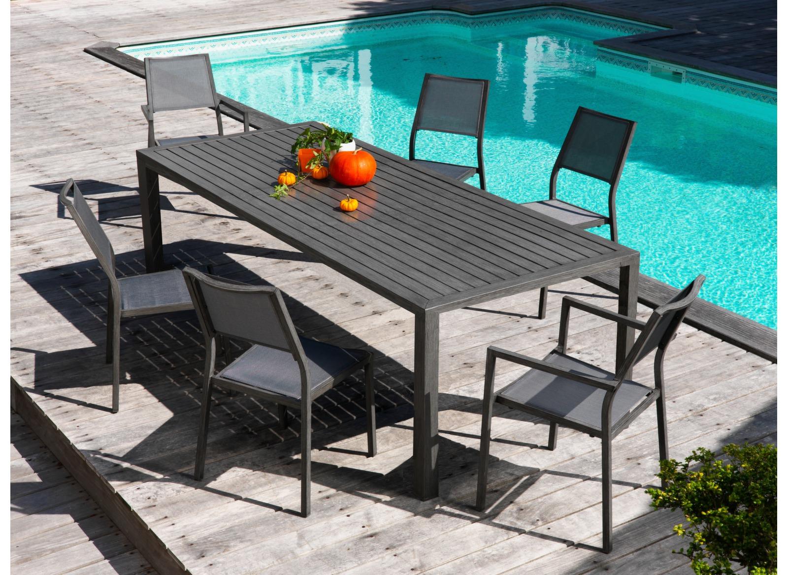 Table milano 220 x 100 cm finition brush mobilier de - Mobilier jardin witry les reims villeurbanne ...