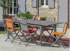 Ensemble table Louisiane 180/240 cm + 6 chaises
