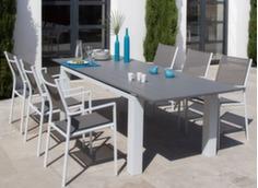 Ensemble table Eléna 180/240 cm + 6 fauteuils Théma