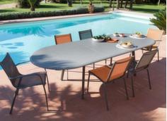 Ensemble table Brasa 280 cm + 4 chaises et 2 fauteuils Linéa