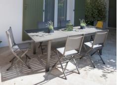 Ensemble table Trieste 180/240 cm + 6 chaises Théma