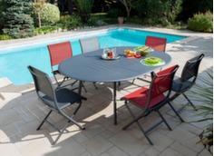Ensemble table Azur 150/200 cm + 6 chaises Elégance