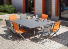 Table Barcelona 130/180 cm + 8 chaises Elégance