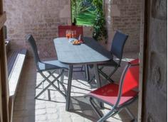 Ensemble table Paradisio 120/170 cm + 4 chaises Elégance